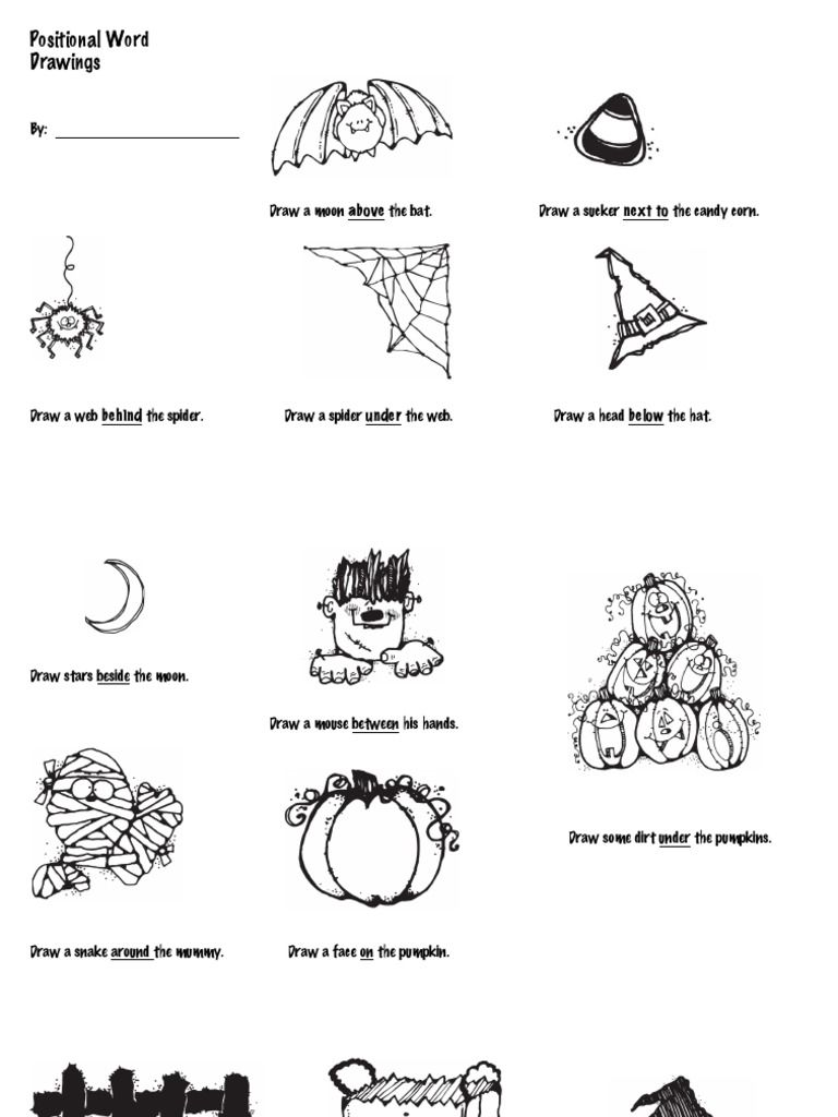 Workbooks using illustrations to understand text worksheets : Have students show their understanding of positional words by ...