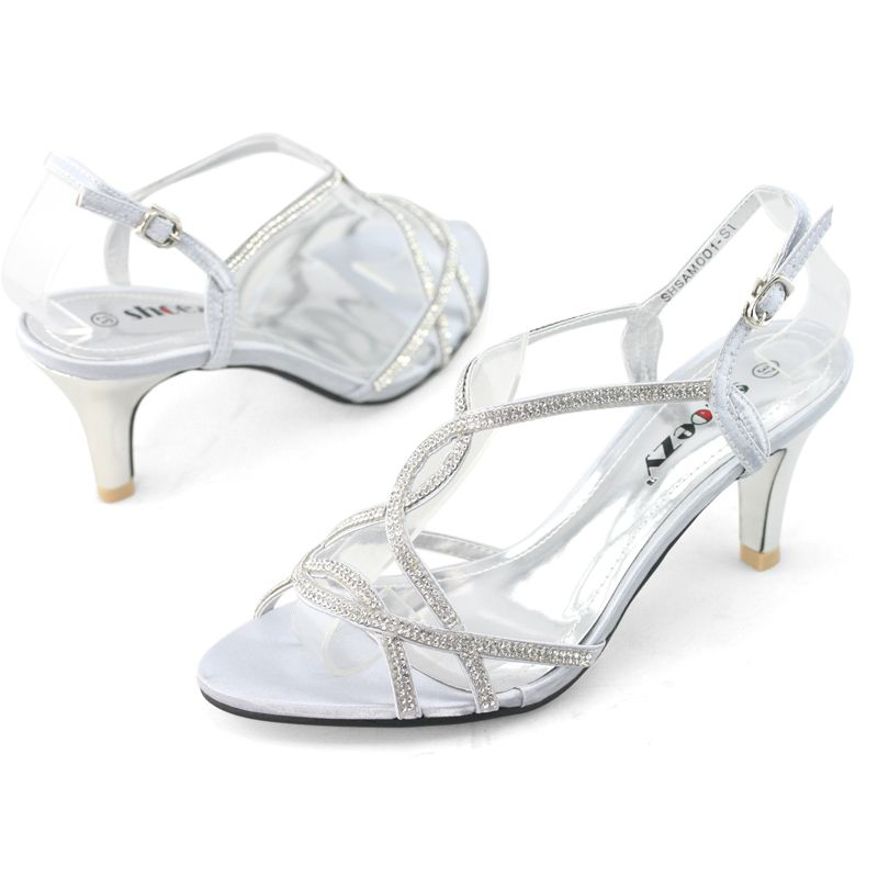 Shoezy Womens Silver Strappy Diamante Wedding Prom Dress Low Kitten Heels Shoes With Images Bridal Shoes Low Heel Strappy Wedding Shoes Wedding Shoes Low Heel