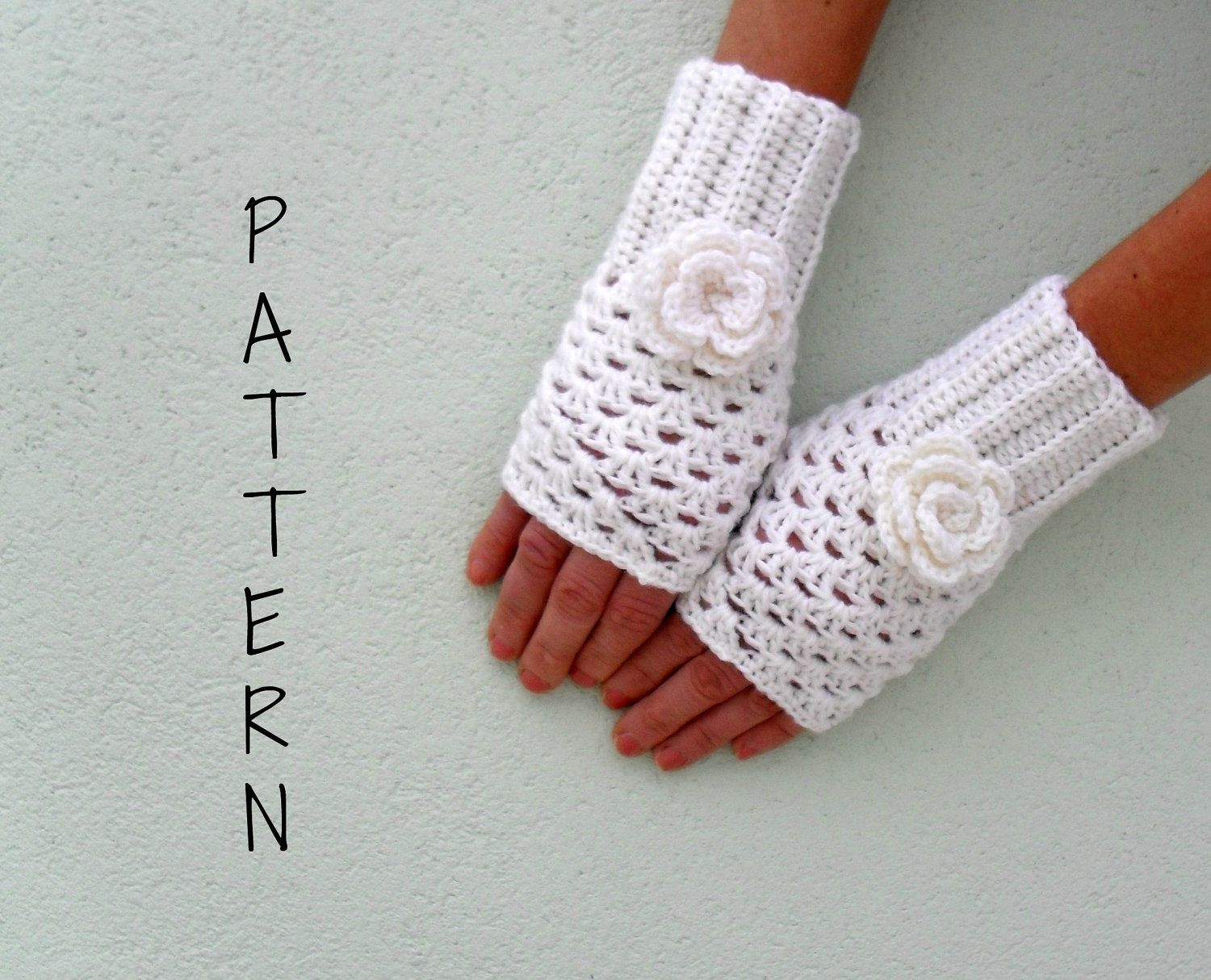 Crochet fingerless gloves mittens wrist warmer PDF Pattern ...