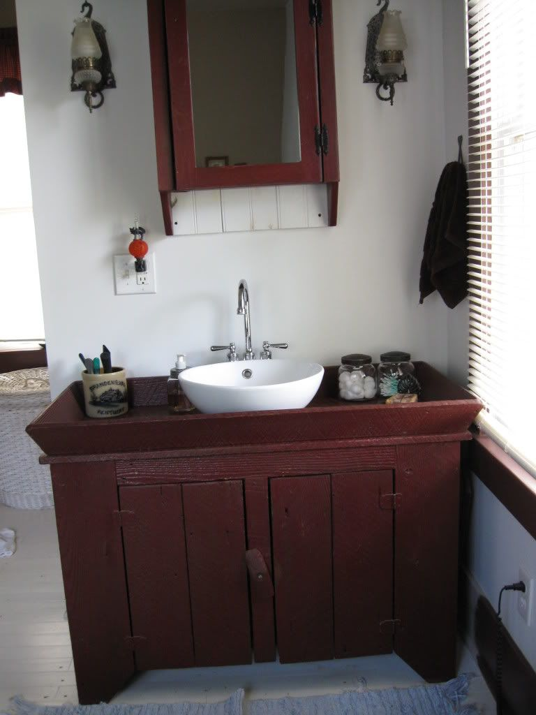 Excuse Mess Repainting In Here Reproduction Dry Sink That Hubby Made For Bath Room