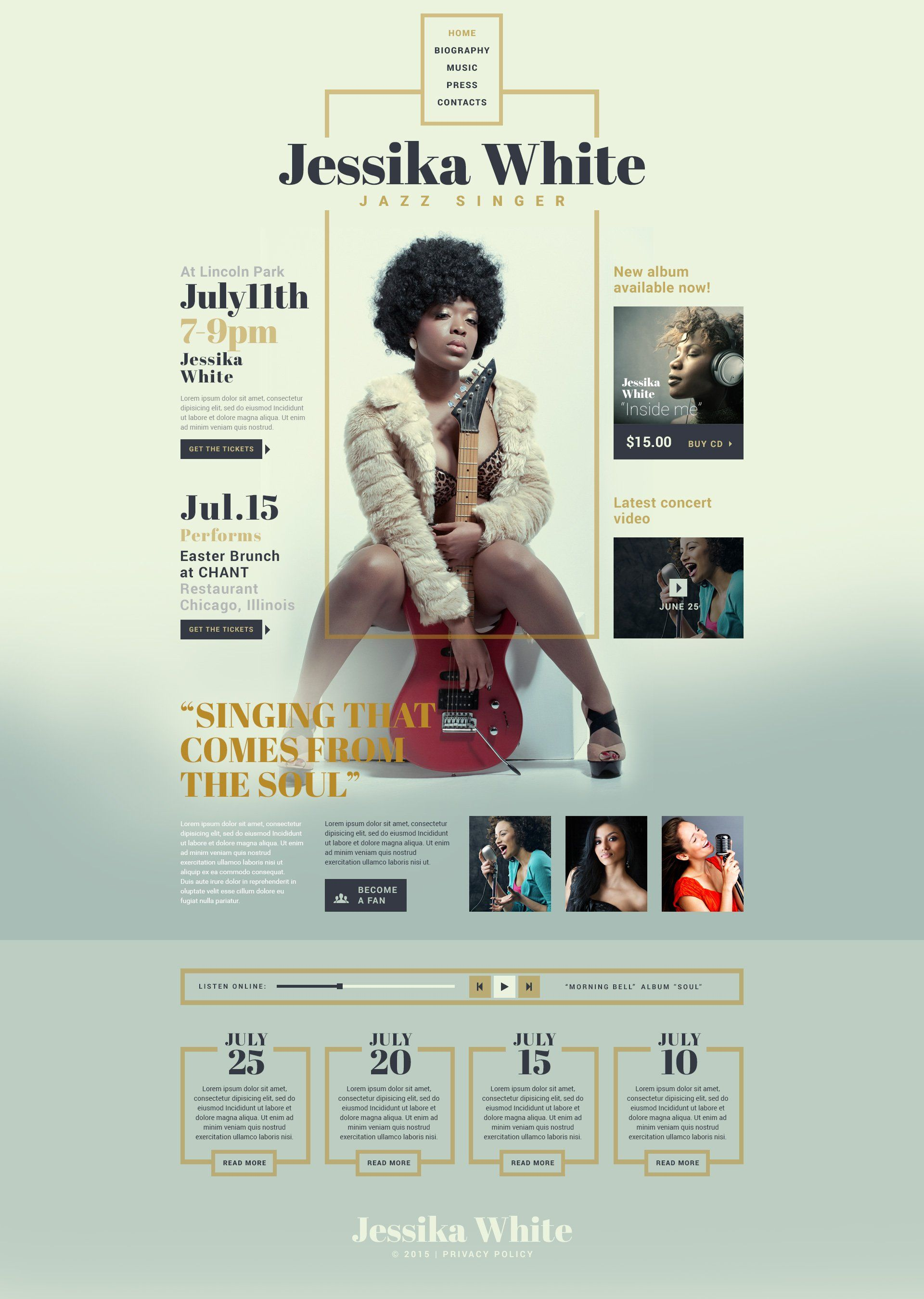 Singer Responsive Website Template 53536 Music Website Templates Music Poster Design Web Layout Design