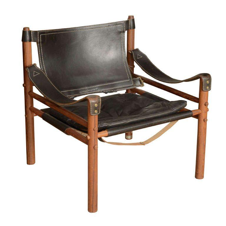 Good Black 1960u0027s Leather Safari Chair By Arne Norell | 1stdibs.com