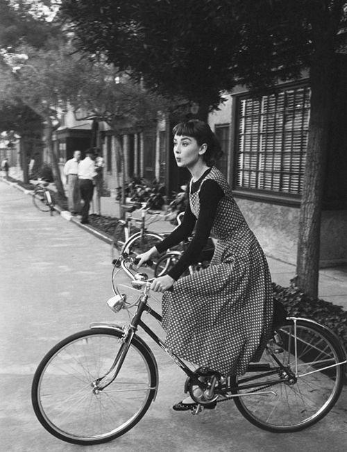 50s audrey hepburn bike black and white sabrina vintage