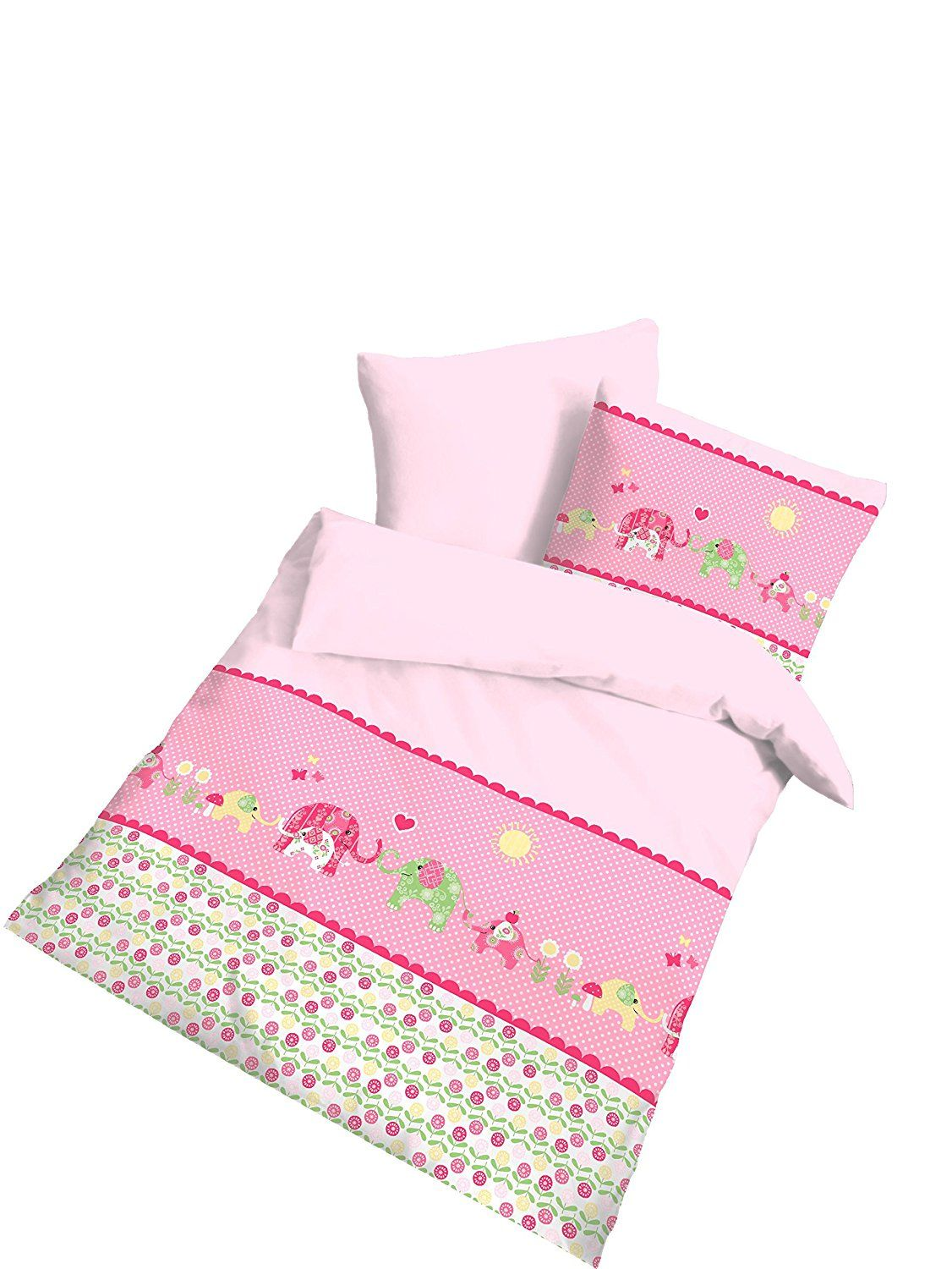 Renforce Baby Bettwasche Elefant Rosa Grosse 40x60 100 X 135 Cm
