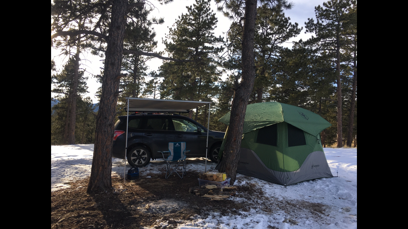 First time camping in the snow. Pike national forest
