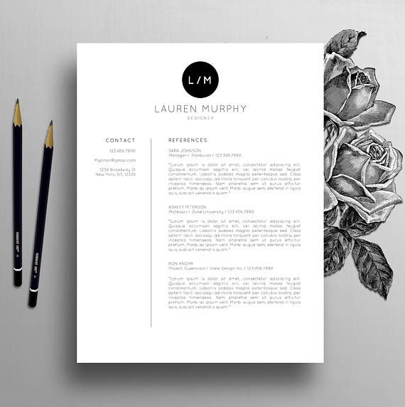 Creative Resume Template Cv Template Cover Letter Etsy Creative Resume Templates Cover Letter For Resume Resume Design Template