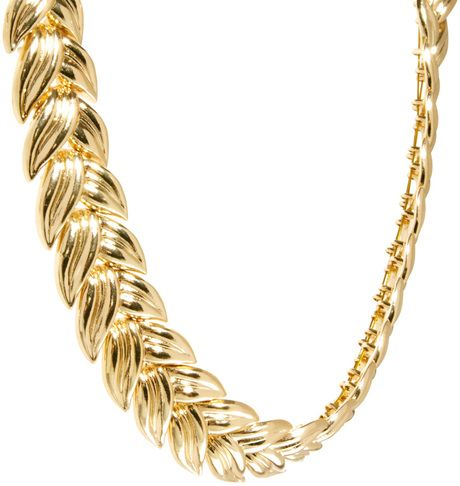 Asos Linked Leaf Necklace in Gold - Lyst