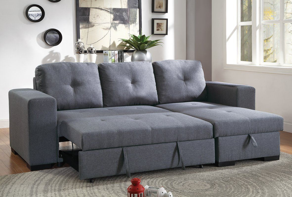 Ivy Bronx Buchman Linen-like Reversible Sectional with Pull ...