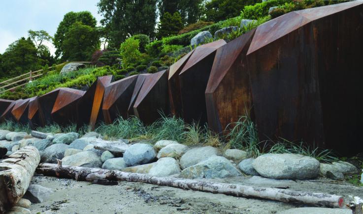 Metamorphous A Corten Seawall Sculpture Modern Landscaping Landscape Architecture Landscape Walls