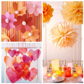 Heart flower lollipops, Pom poms and table decor and crayon melted / wax paper hearts for Valentine's Day