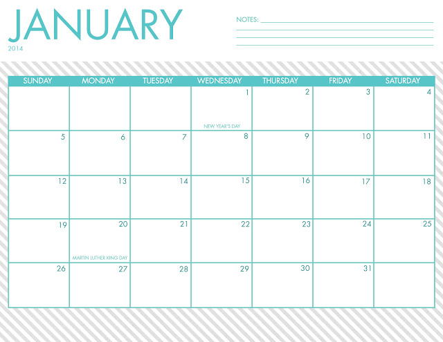 Free Printable 2014 Calendars Are Here 5 Designs To Choose From
