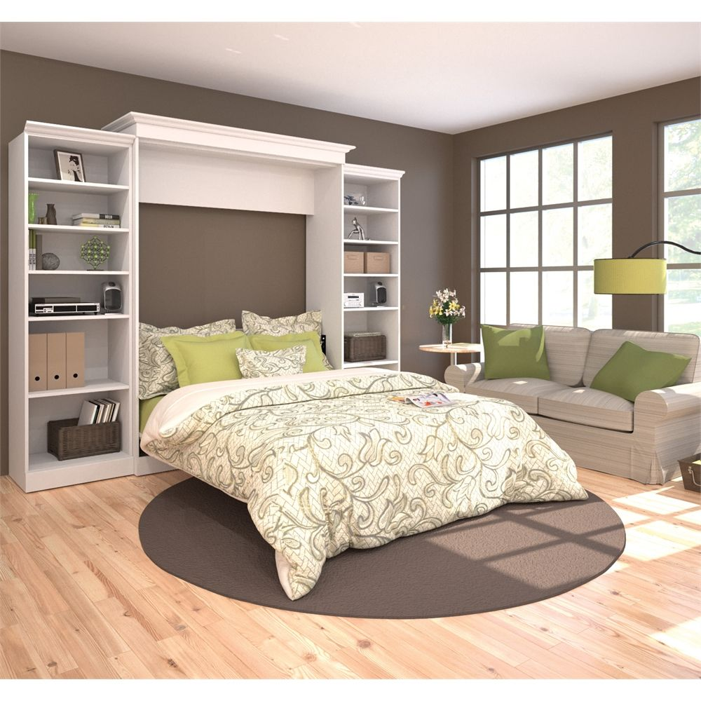 Queen size loft bed with desk  Bestar Versatile by Bestar uu Queen Wall bed kit in White