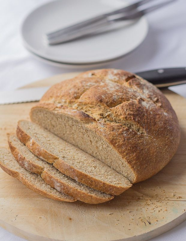 This traditional wholemeal cob loaf is the perfect mopping up accompaniment for soups and meat and fish stews. Goes epecially well with my moules marinieres recipe.