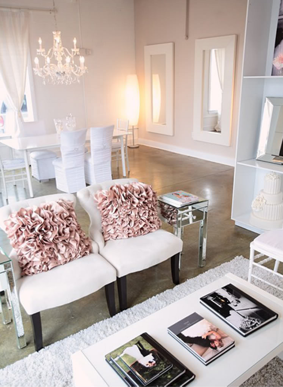 Blush And White Living Room