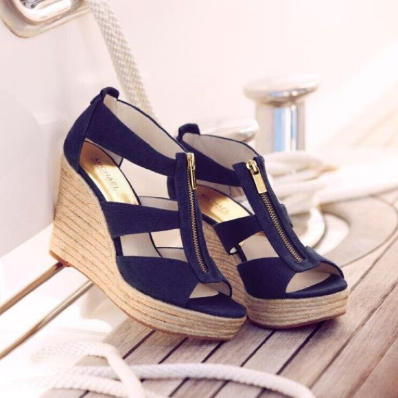 c37ae1ea599 Michael kors navy canvas espadrille wedges new in box damita wedge jpg  580x580 Navy canvas wedges