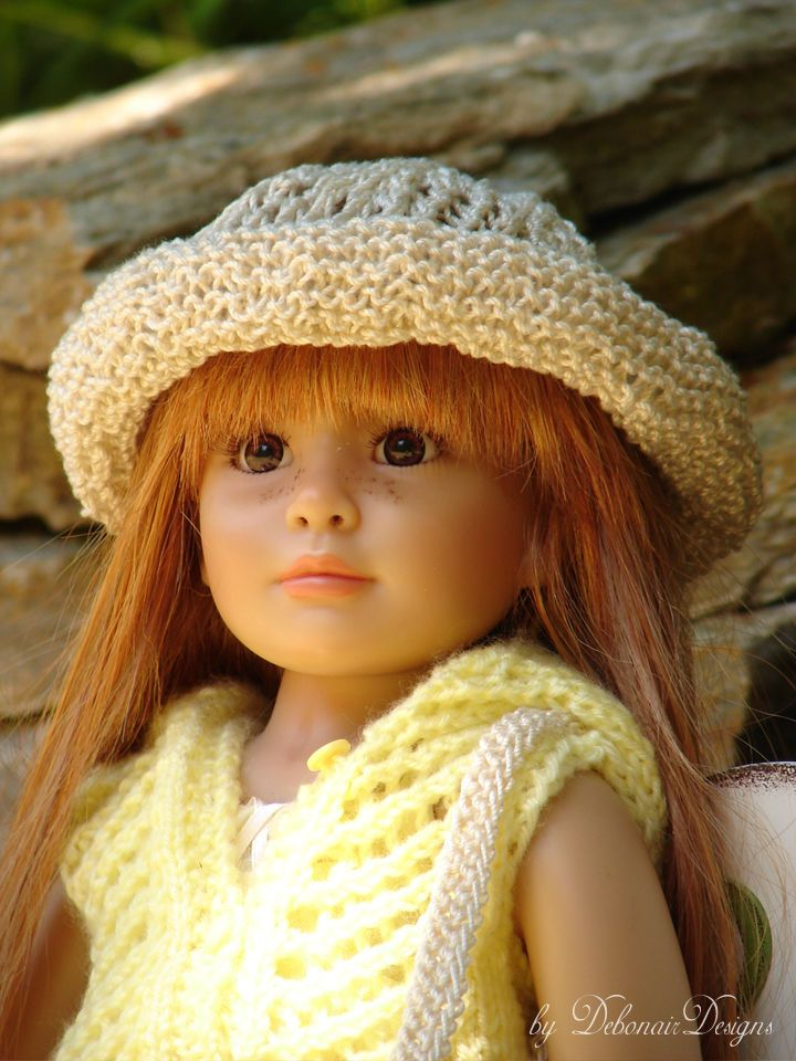 """Hand-knitted lace-stitched sun hat designed to fit 18"""" Kidz N' Cats dolls by Debonair Designs"""