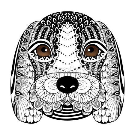Arte de línea de cachorro Beagle para colorear libro para adultos ...