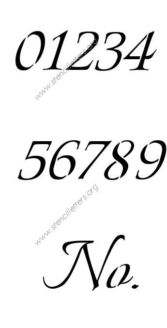 Connected Calligraphy 0 To 9 Number Stencils