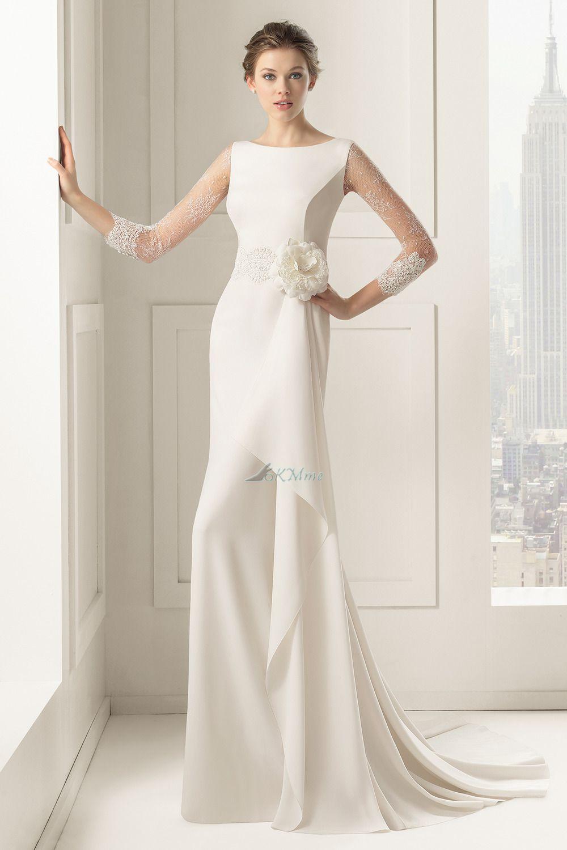 Robe de mariee droite manche longue