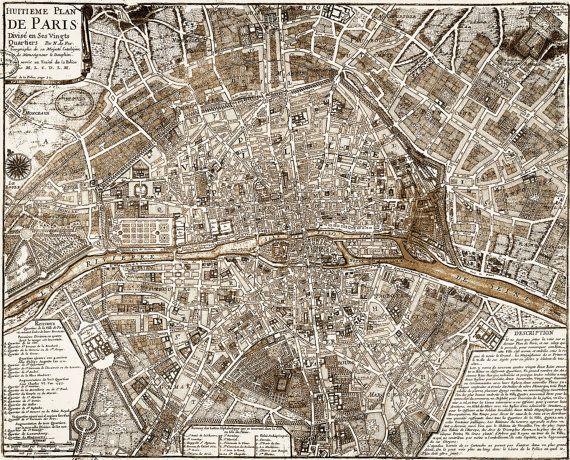 1705 paris map vintage restoration hardware style wall map decor old world map city plan of paris france street map print anniversary gift