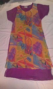 Silver Stream Dress Women Beautiful Tropical Bright Med 100 Rayon Boho Hippie   eBay