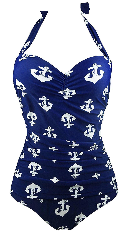 7a2627f31d Cocoship Navy Blue 1950s Retro Vintage One Piece Monokini White Anchors Swimsuits  Swimwear M(FBA