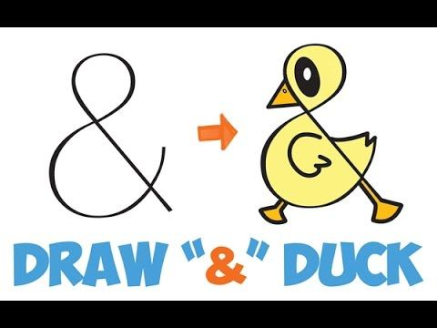 How To Draw A Cute Cartoon Duck From Ampersand Symbol Easy Step By Step Drawing Tutorial For Kids H Bird Pencil Drawing Drawing Tutorials For Kids Drawings