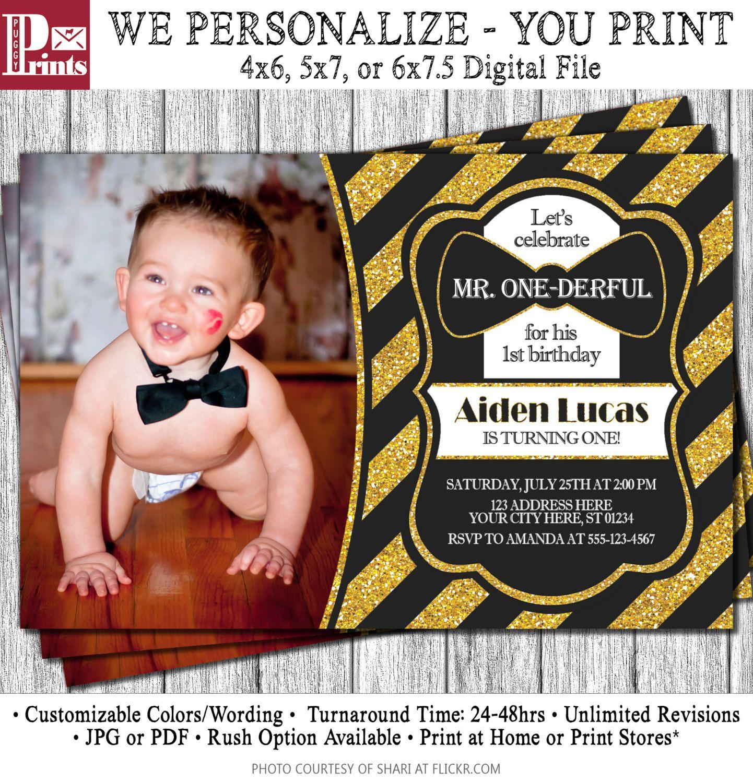 Mr. ONEderful Birthday Invitation - Mr One-derful Tuxedo Birthday ...