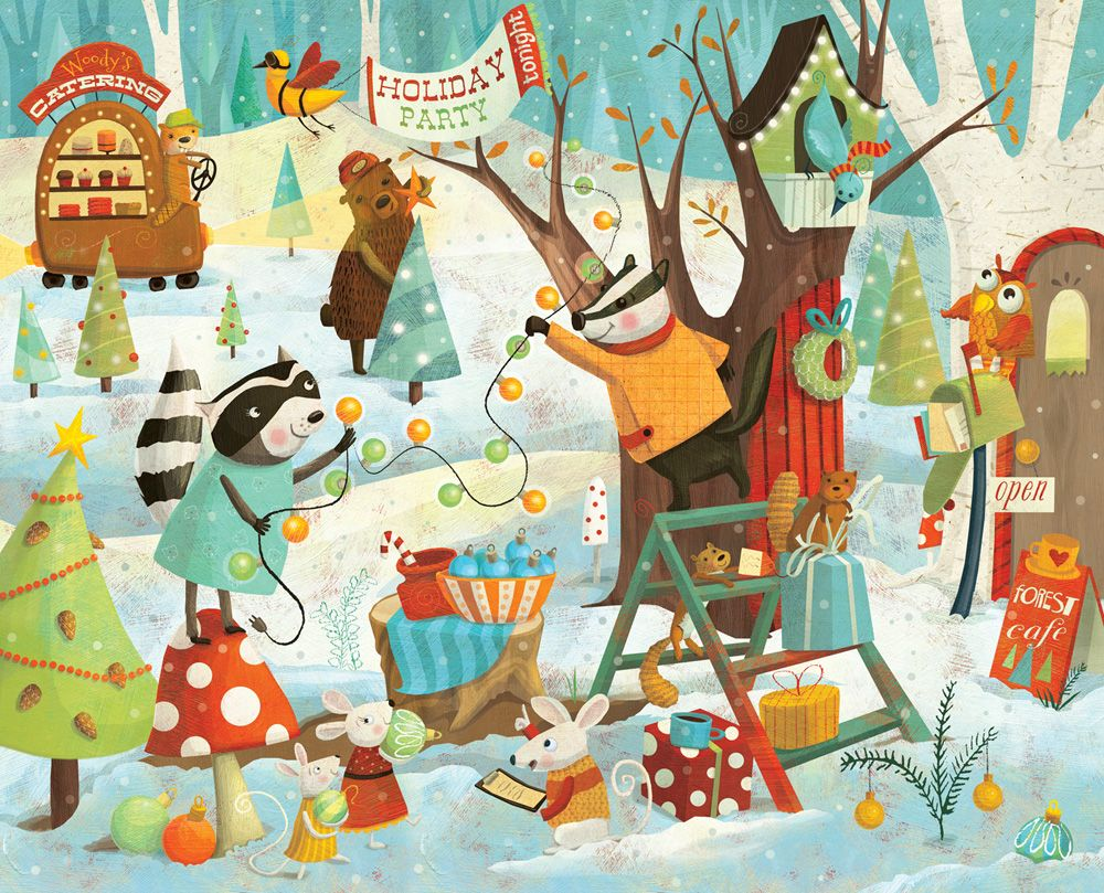 Pin By Iris On Ilustraciones Christmas Forest Illustration Christmas Forest Christmas Illustration