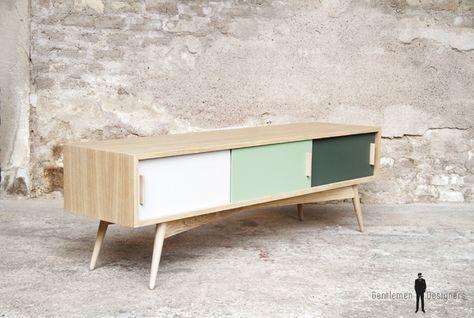 Creation sur-mesure // meuble tv chene 3 portes 150cm / mtv-lc-3e-03 ...