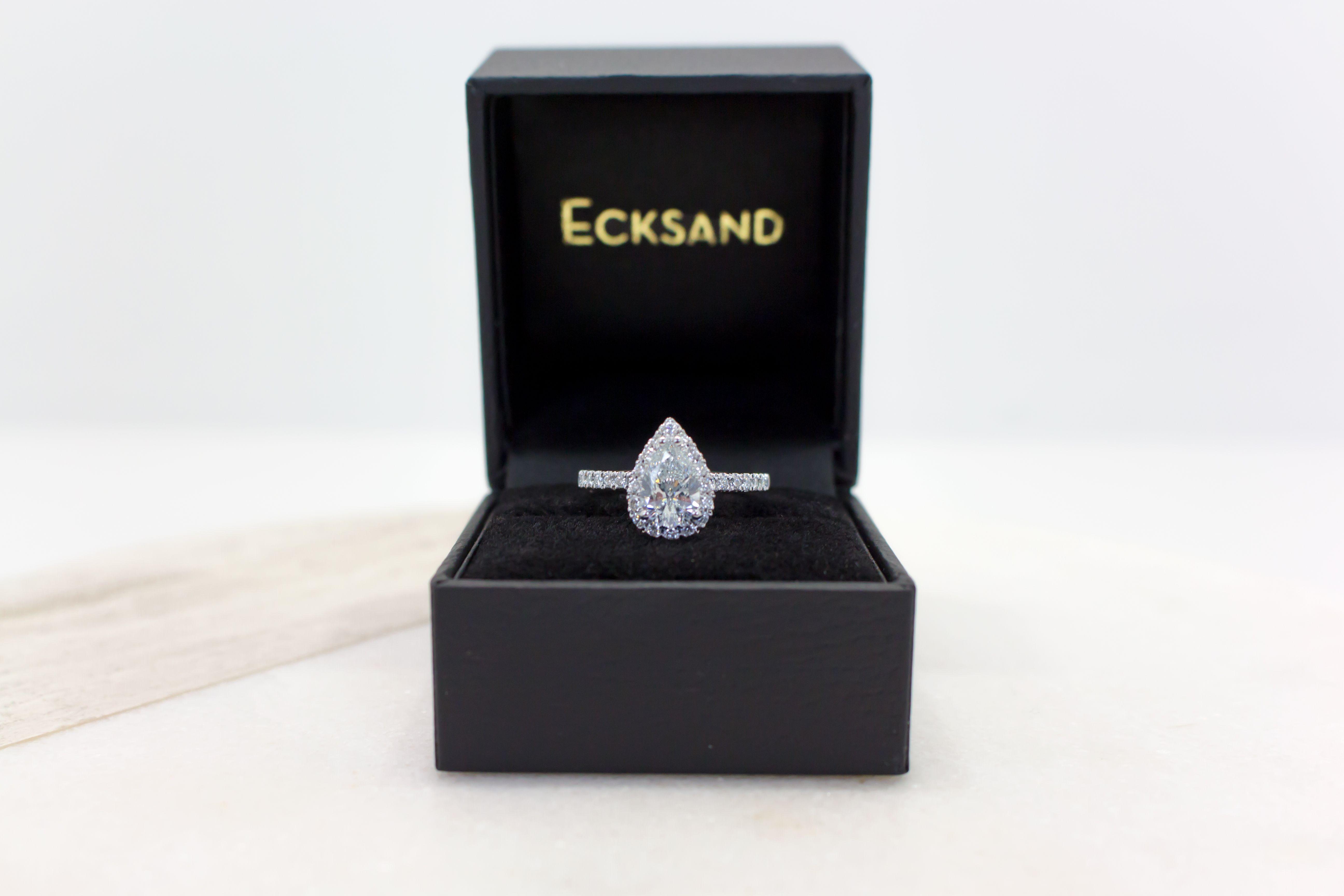 Ecksand Custom Made Pear Shaped Diamond Halo Engagement