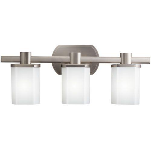 Bathroom Light Fixtures Ferguson kichler kk5053ni beveled box 3 bulb bathroom lighting - brushed