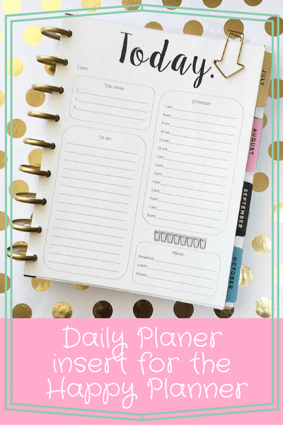 Happy Planner daily insert | Free Printables | Create 365