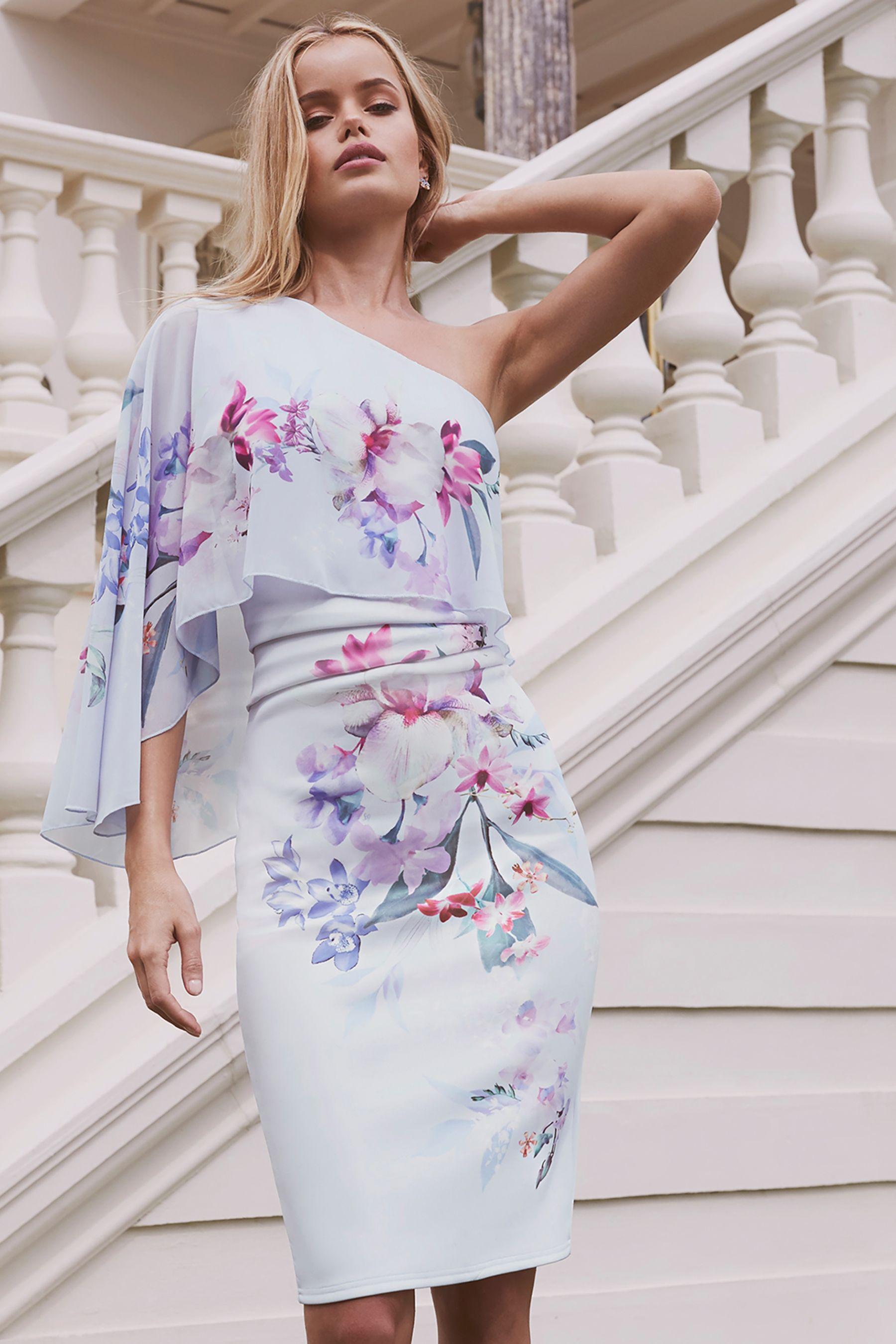 a3d027124cf8c Womens Lipsy Petite Lucia Print 1 Shoulder Bodycon Dress - White ...