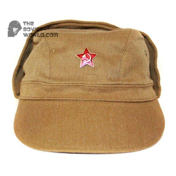 2f6796a9ee102 Soviet Russian Army soldier s military USSR Cap Afganka khaki hat with  earflaps