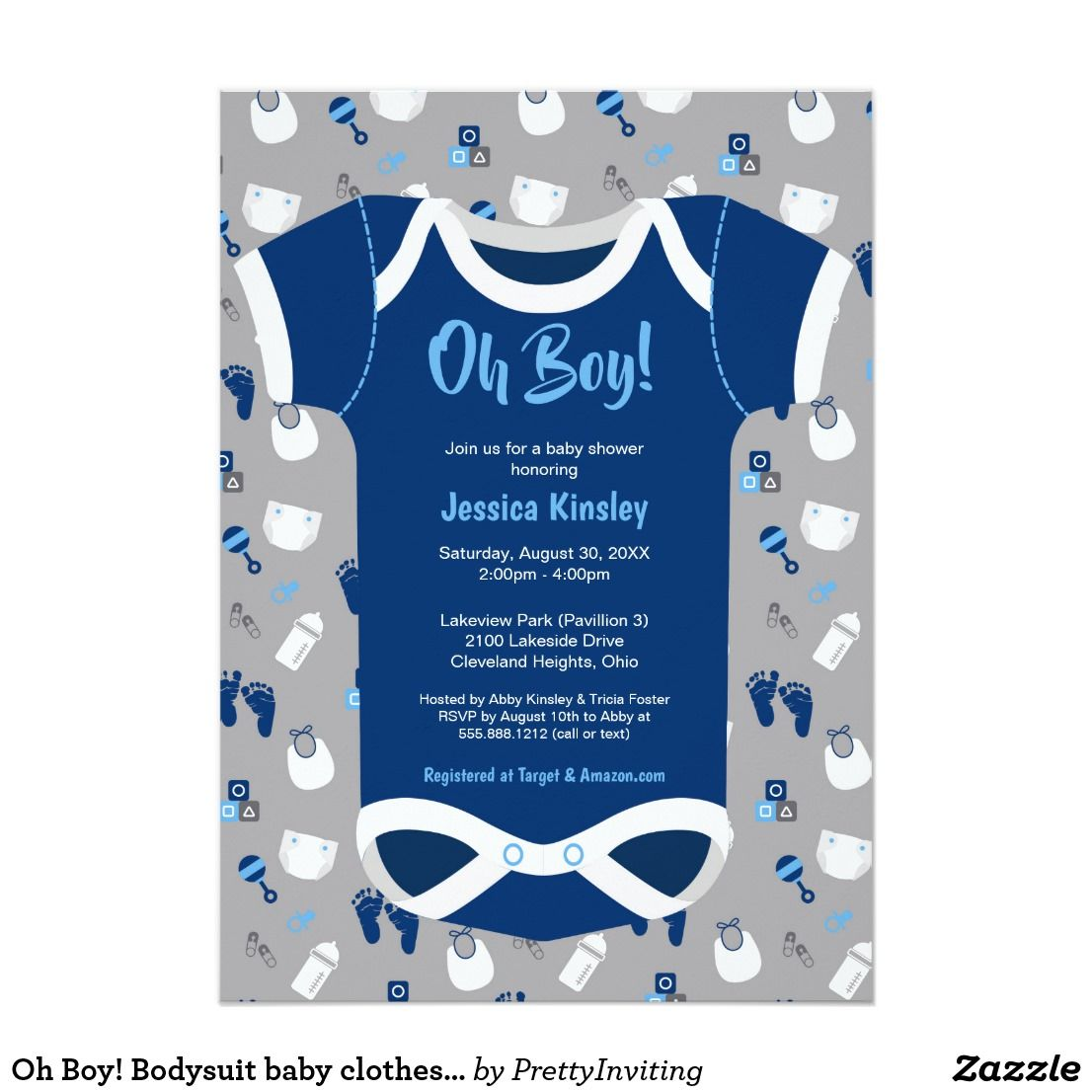 Oh Boy! Bodysuit baby clothes shower invitation | Shower invitations ...