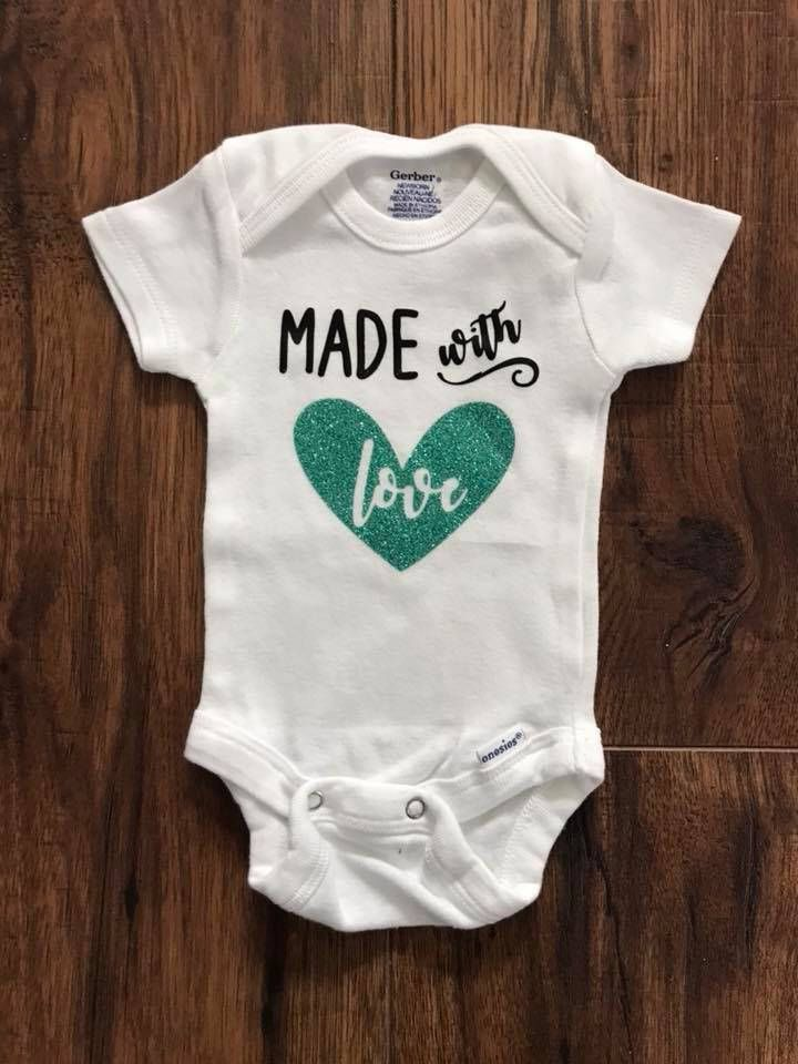 2fd9500ee1f3 Made with Love Onesie by handsfullfullheart on Etsy