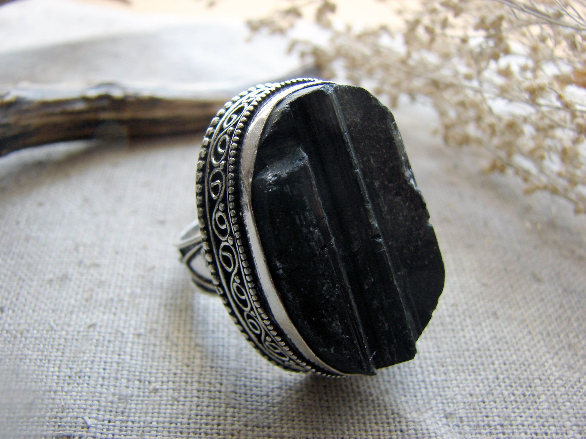 Black Tourmaline Schorl Witch Ring Size 7 1 4 Big Raw Stone Etsy Black Tourmaline Ring Witch Rings Black Tourmaline