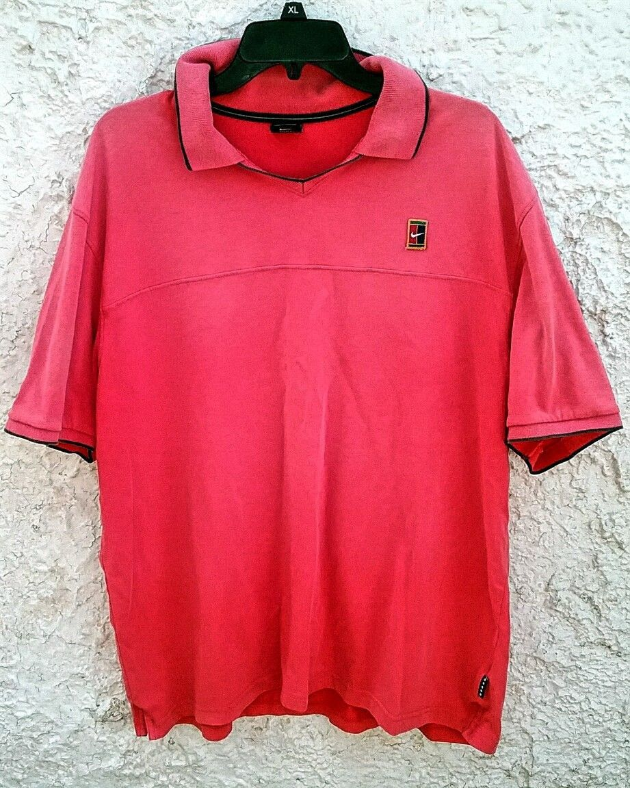 Nike Tennis Polo Shirt Red Vintage 90s Swoosh Tennis Court Logo Xl By Fchoicevintage On Etsy Tennis Polo Polo Shirt Nike Tennis