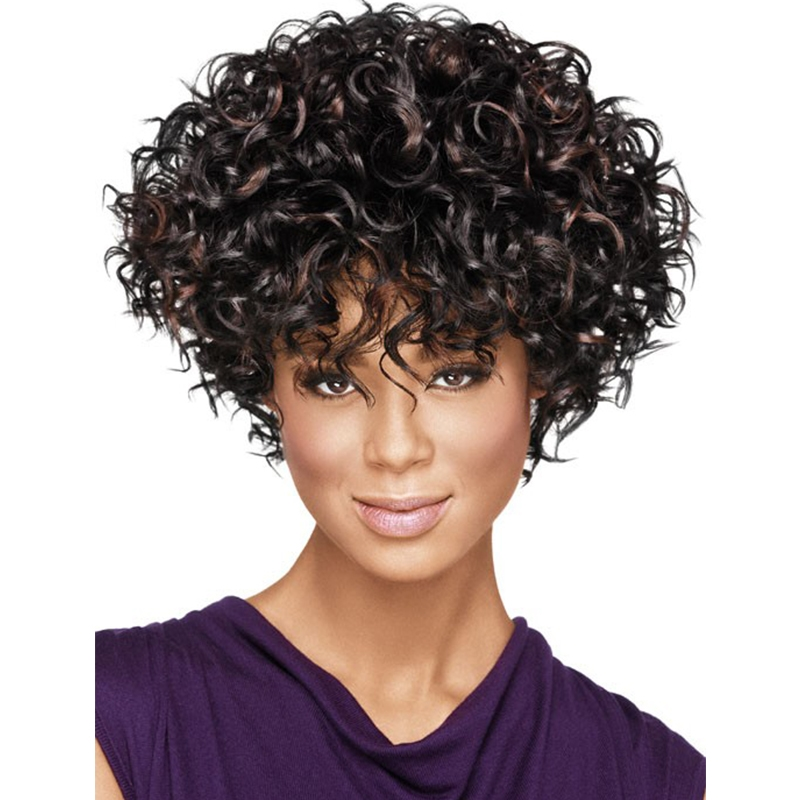 (26.09$)  Watch now  - Top Quality Curly Hairstyle Highlight Brown Color Capless Synthetic Hair Wigs Short Wigs Fro Black Women African American Wigs