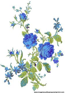 Dibujos De Flores Azules Flower Art Digital Flowers Flower Painting