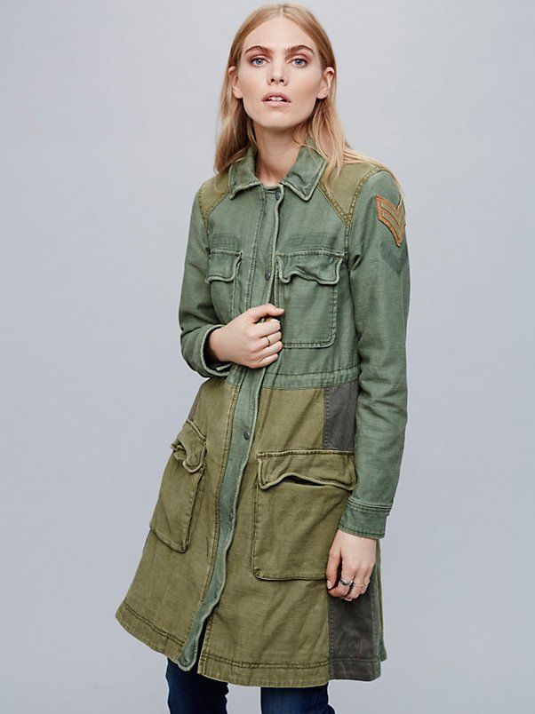 Colorblock Military Parka