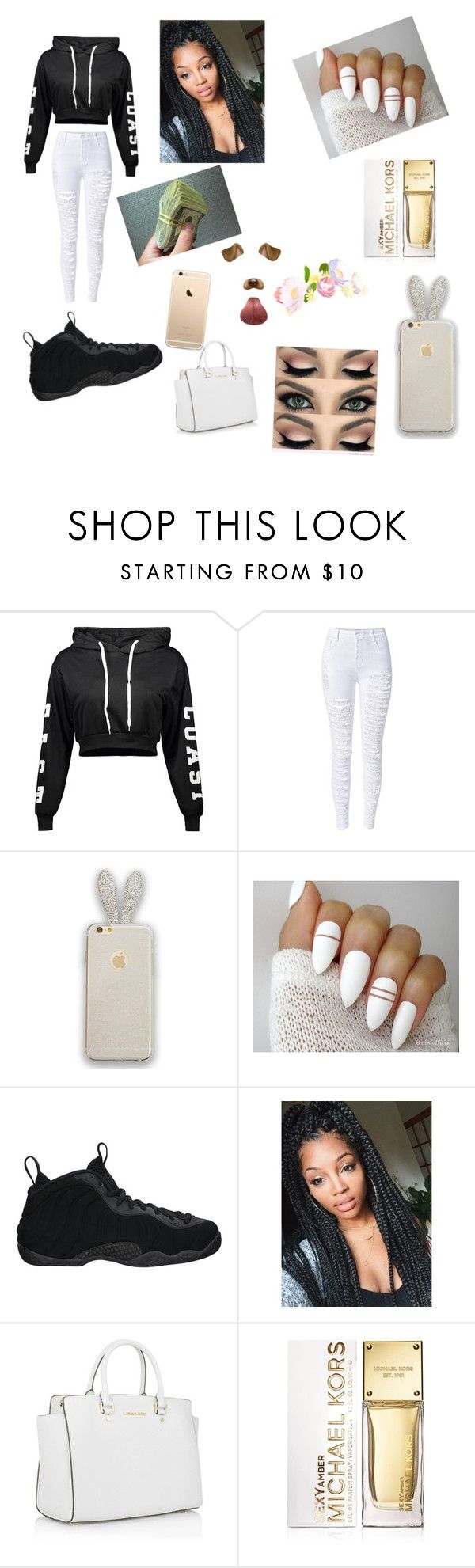 """""""This is what happens when I'm bored😕😐"""" by cedayeg1 ❤ liked on Polyvore featuring WithChic, NIKE, Michael Kors and MICHAEL Michael Kors"""