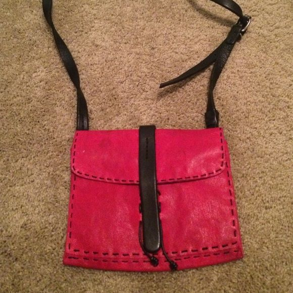 pink leather purse pink leather purse 2 zip pockets and black leather straps Bags Crossbody Bags