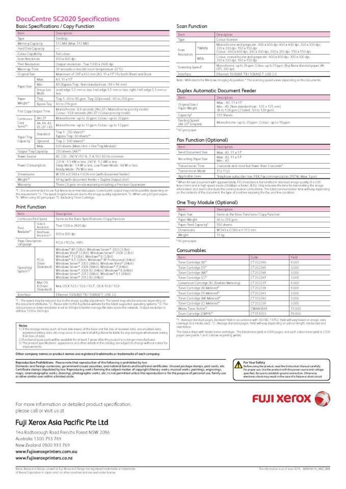 New Fuji Xerox Sc2020 A3 Colour Laser Multi Function Printer The