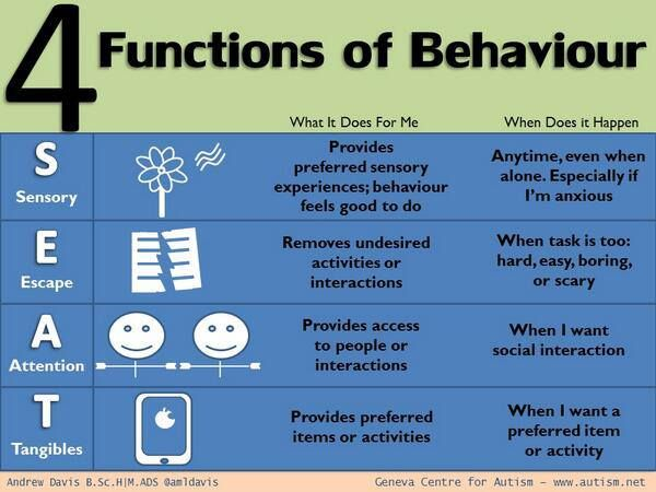 The 4 Functions of Behavior Just Take a SEAT! Great resource for - what is behavior analysis examples