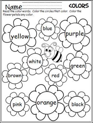 Flower Color Words Worksheet Madebyteachers Teaching Colors Kindergarten Worksheets Preschool