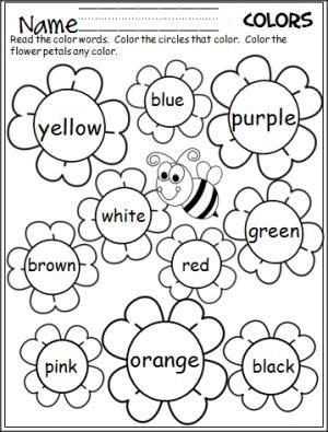 Flower Color Words Worksheet Teaching Colors Preschool Colors