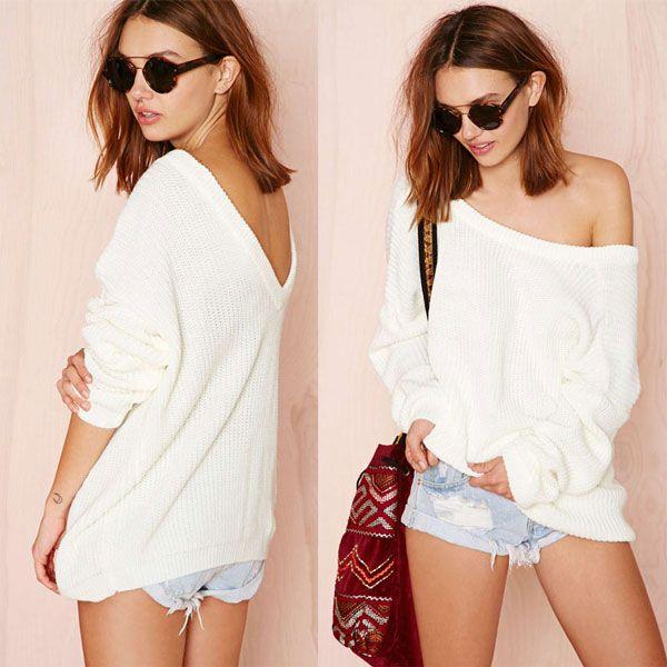 Deep V Back Off Shoulder Sweater | Cute Sweaters | Pinterest ...