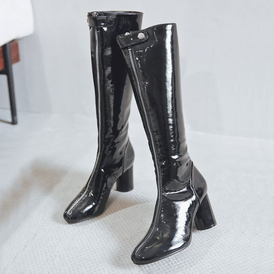 Fashion Winter Black Street Wear Womens Boots 2020 Patent Leather 8 Cm Thick Heels Round Toe Boots Womens Boots Boots Thick Heels